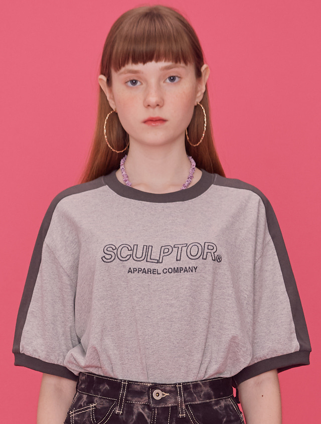 Outline Ringer Tee [MELANGE GRAY]