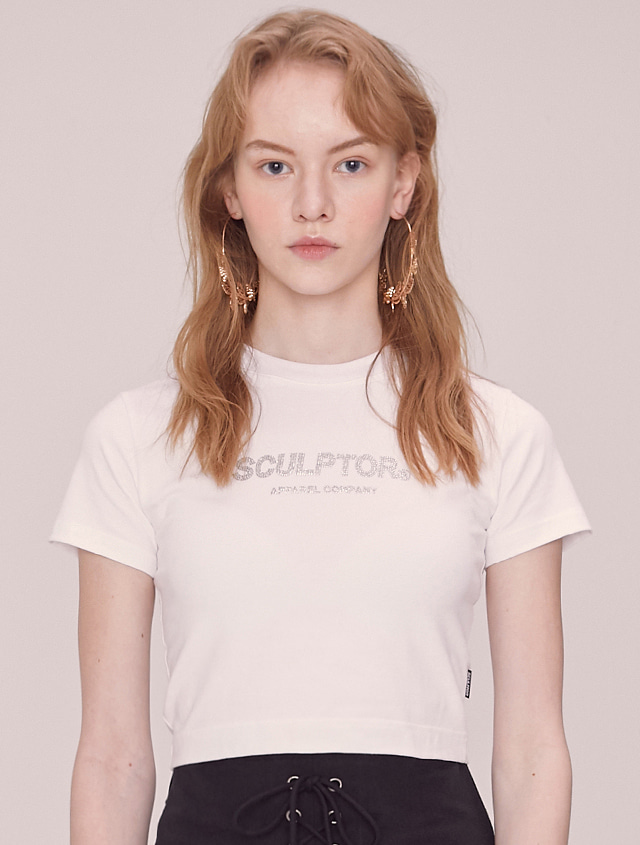 SCULPTOR Hotfix Crop Tee [WHITE]