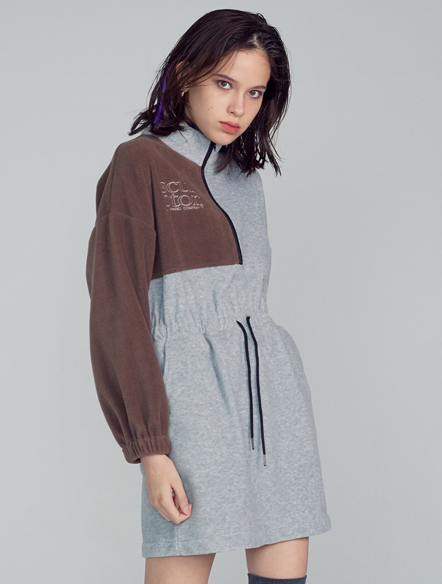 Half-Zip Up Fleece Dress [MELANGE GRAY]