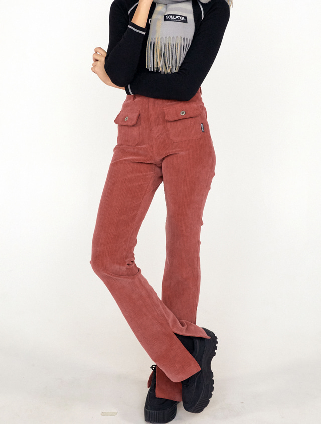 Corduroy Flare Pants [DUSTY RED]
