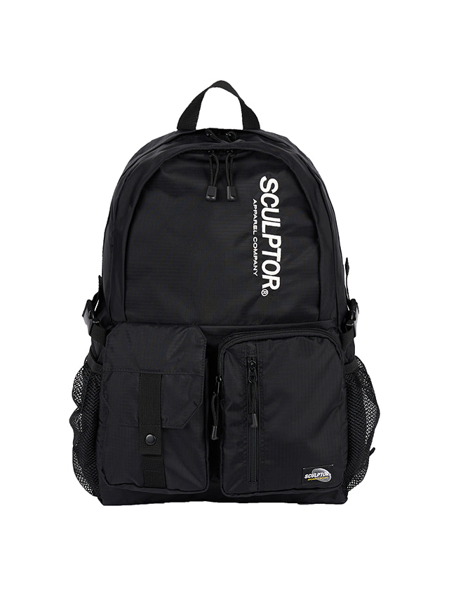 DOUBLE POUCH NYLON BACKPACK [BLACK]