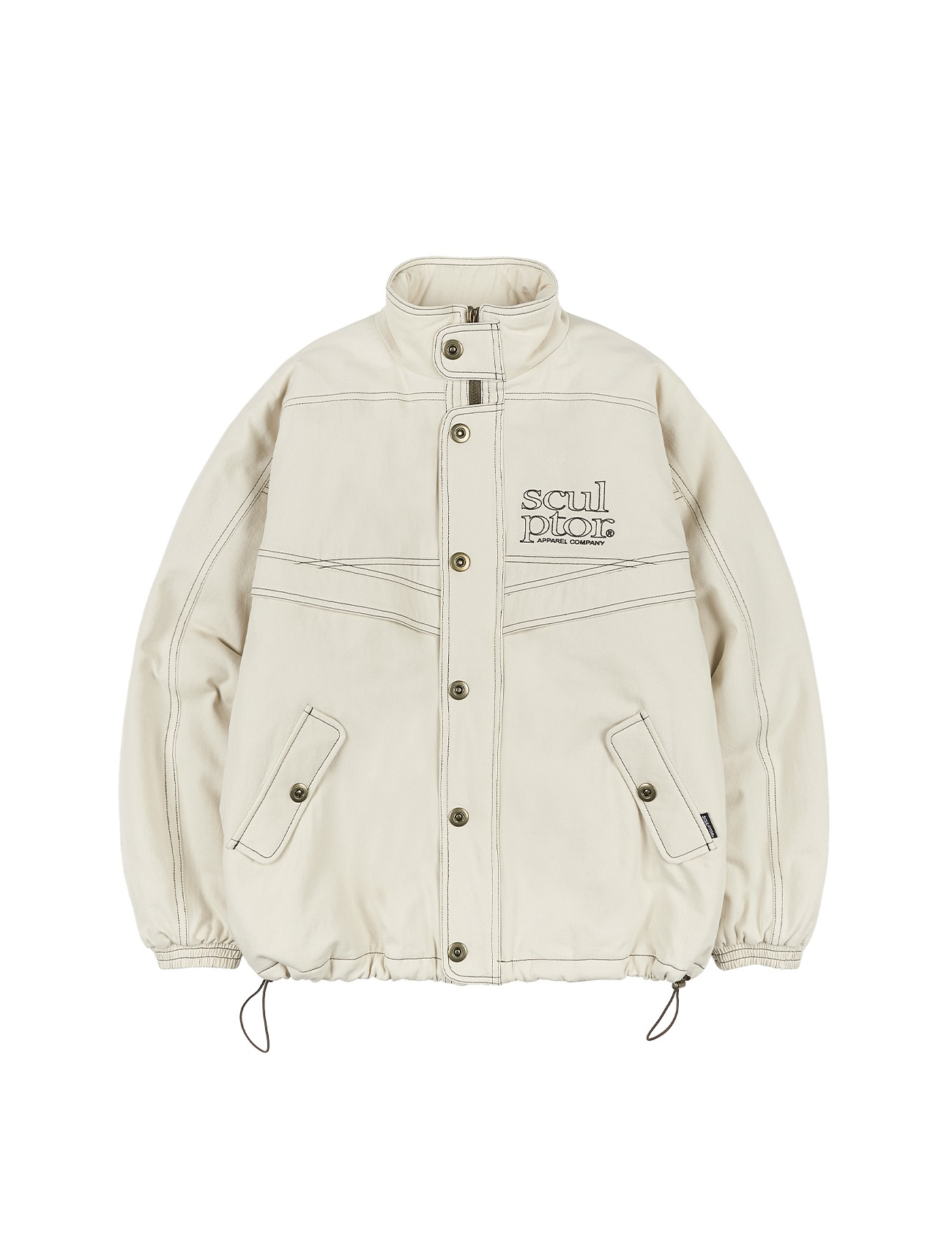 Contrast Stitch Work Jacket Cream