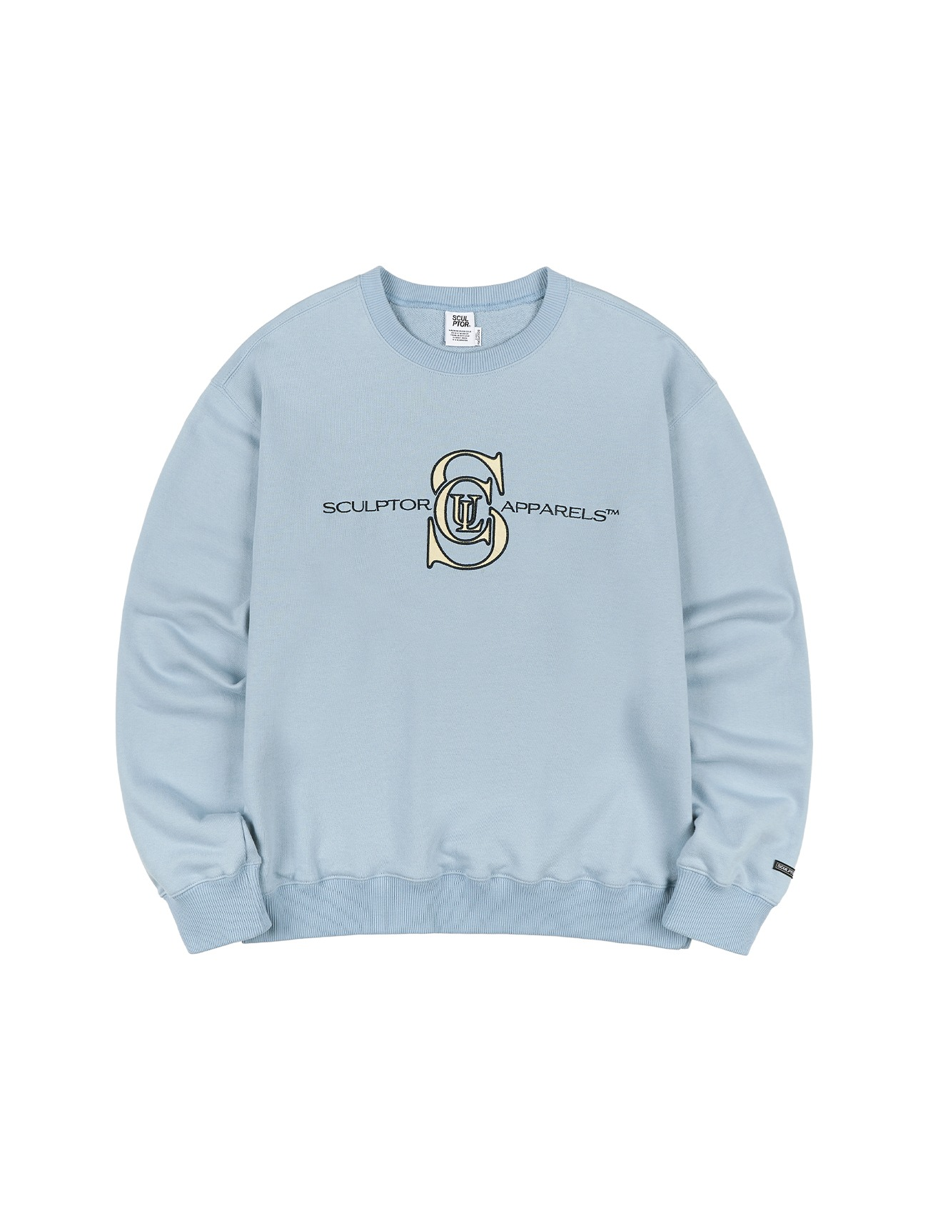 Satin Applique Sweatshirt Dusty Blue