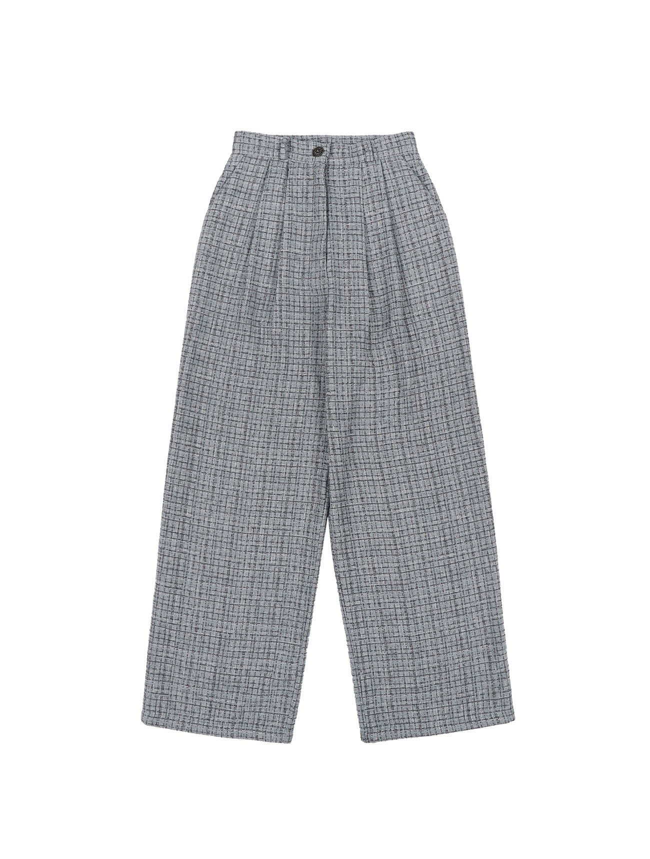 Chunky Tweed Pants Baby Blue