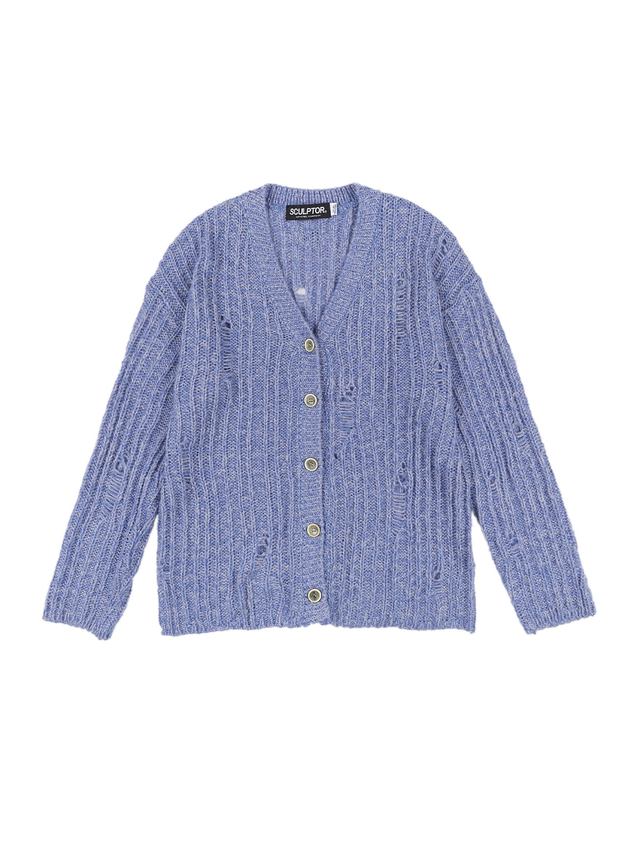 Damaged Chunky Cardigan Heather Blue