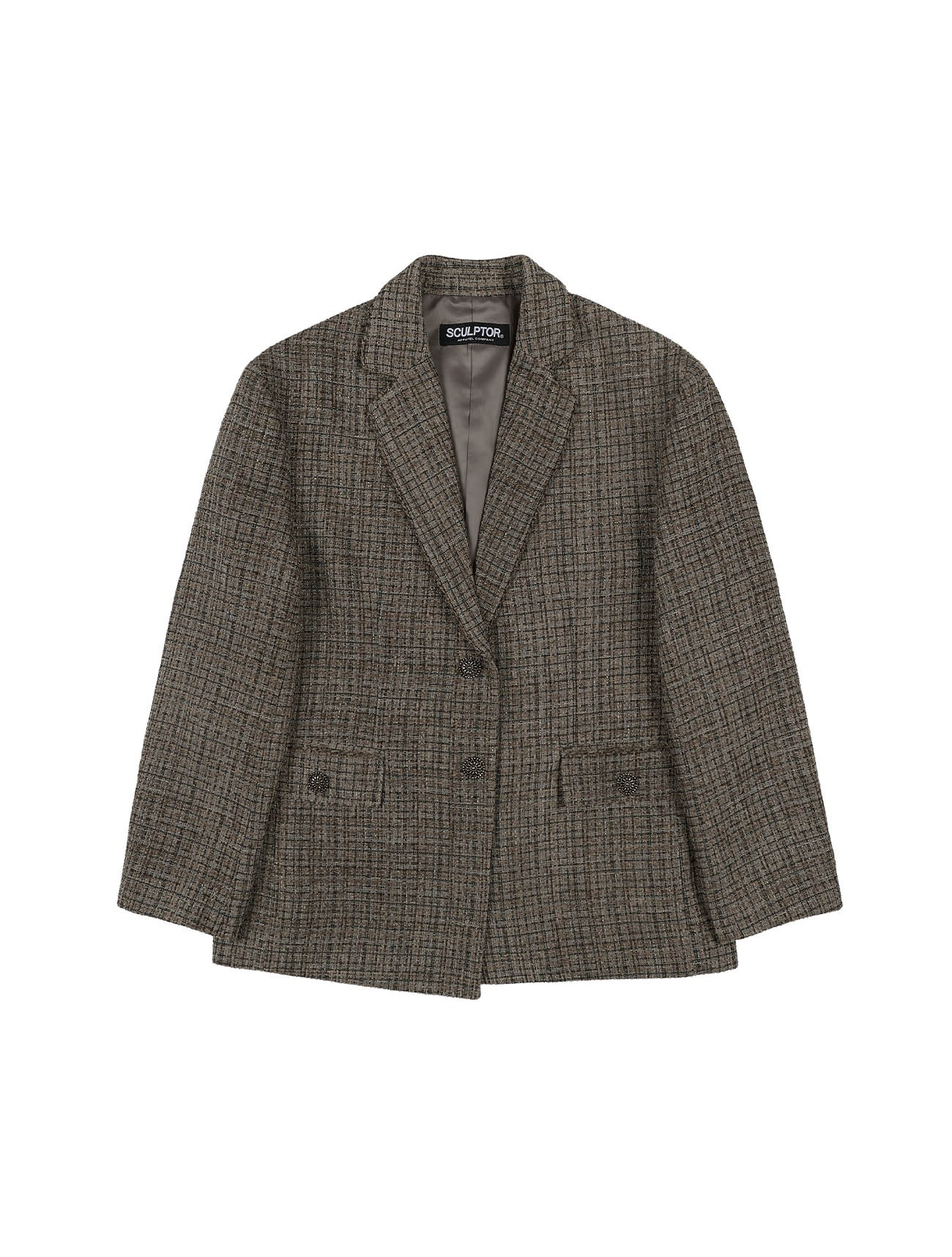 Chunky Tweed Jacket Ash Brown