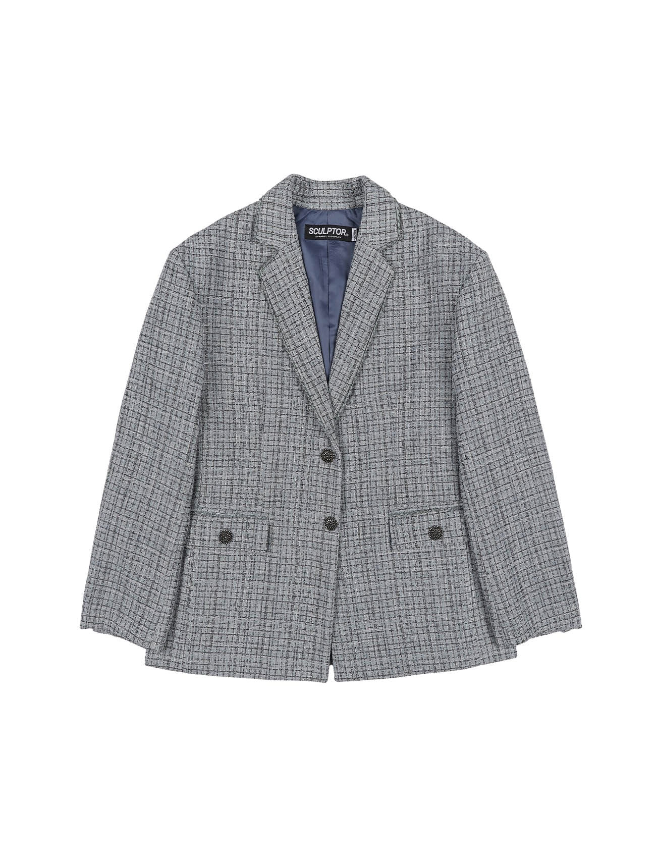Chunky Tweed Jacket Baby Blue