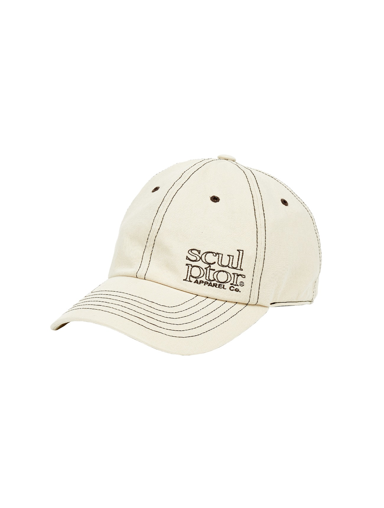 Contrast Stitch Ball Cap Cream