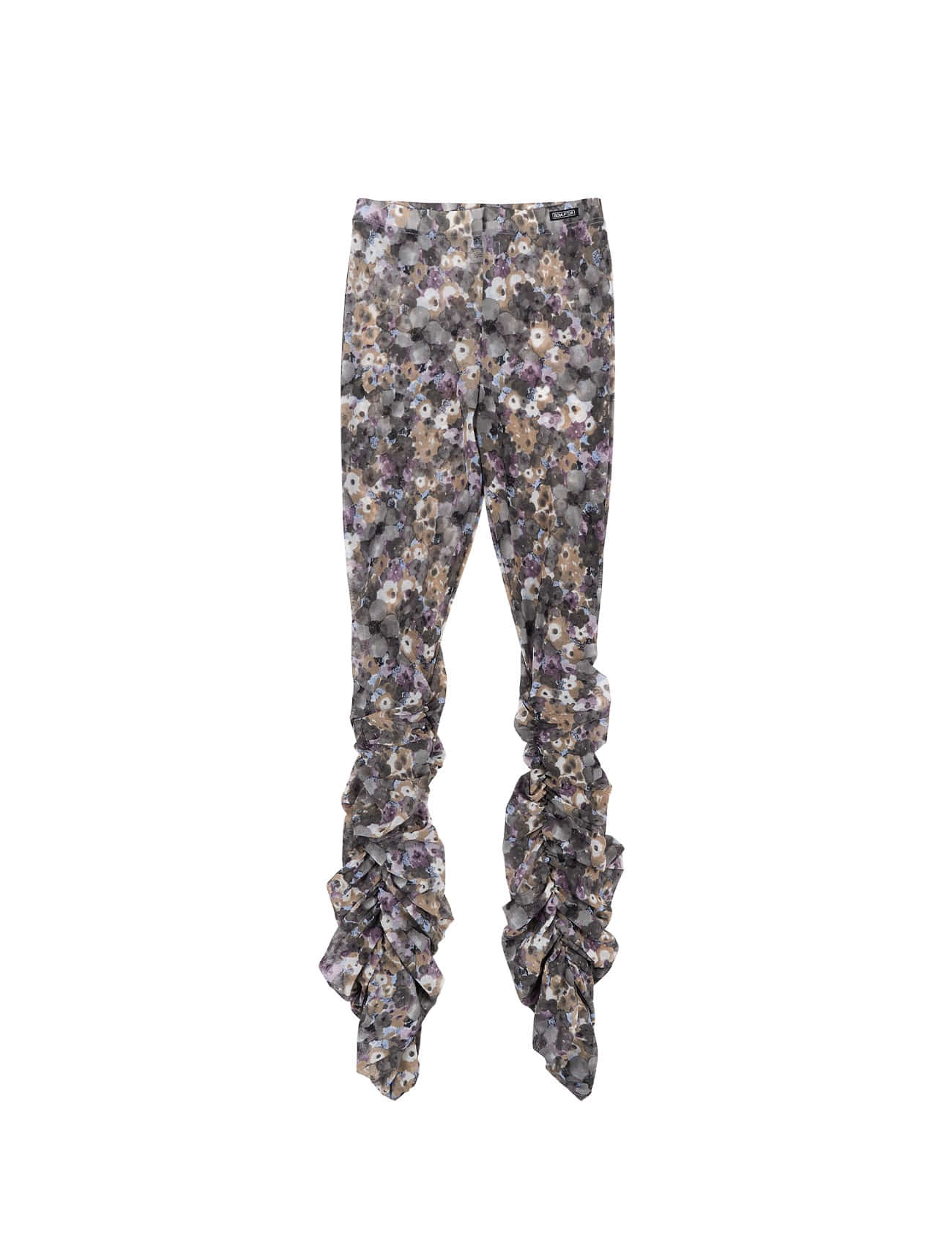 Shirring Flower Mesh Leggings Purple Bouquet