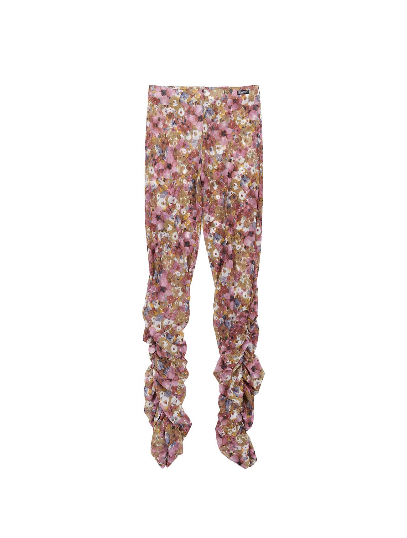 Shirring Flower Mesh Leggings Pink Bouquet