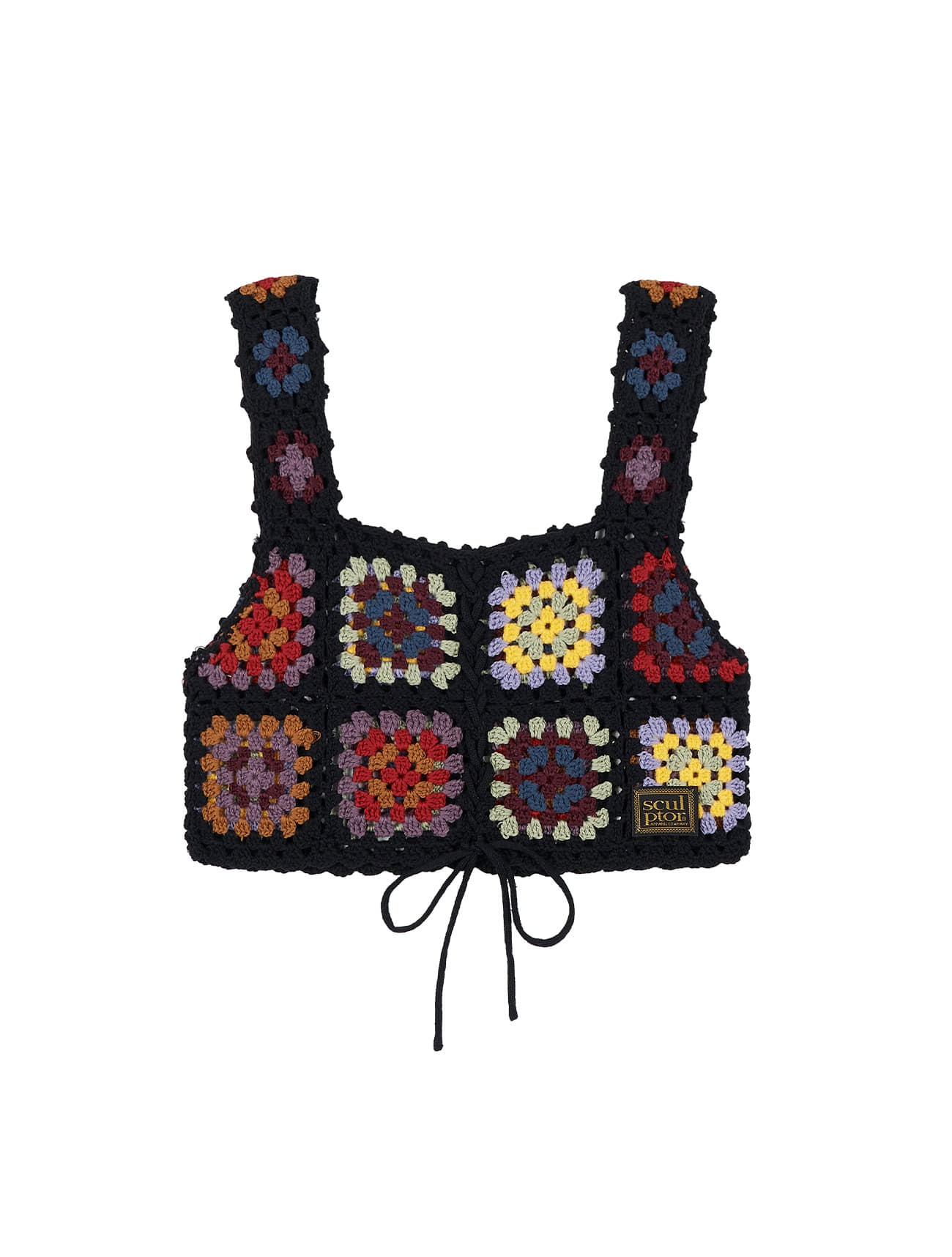 Handmade Crochet Vest Multi Black