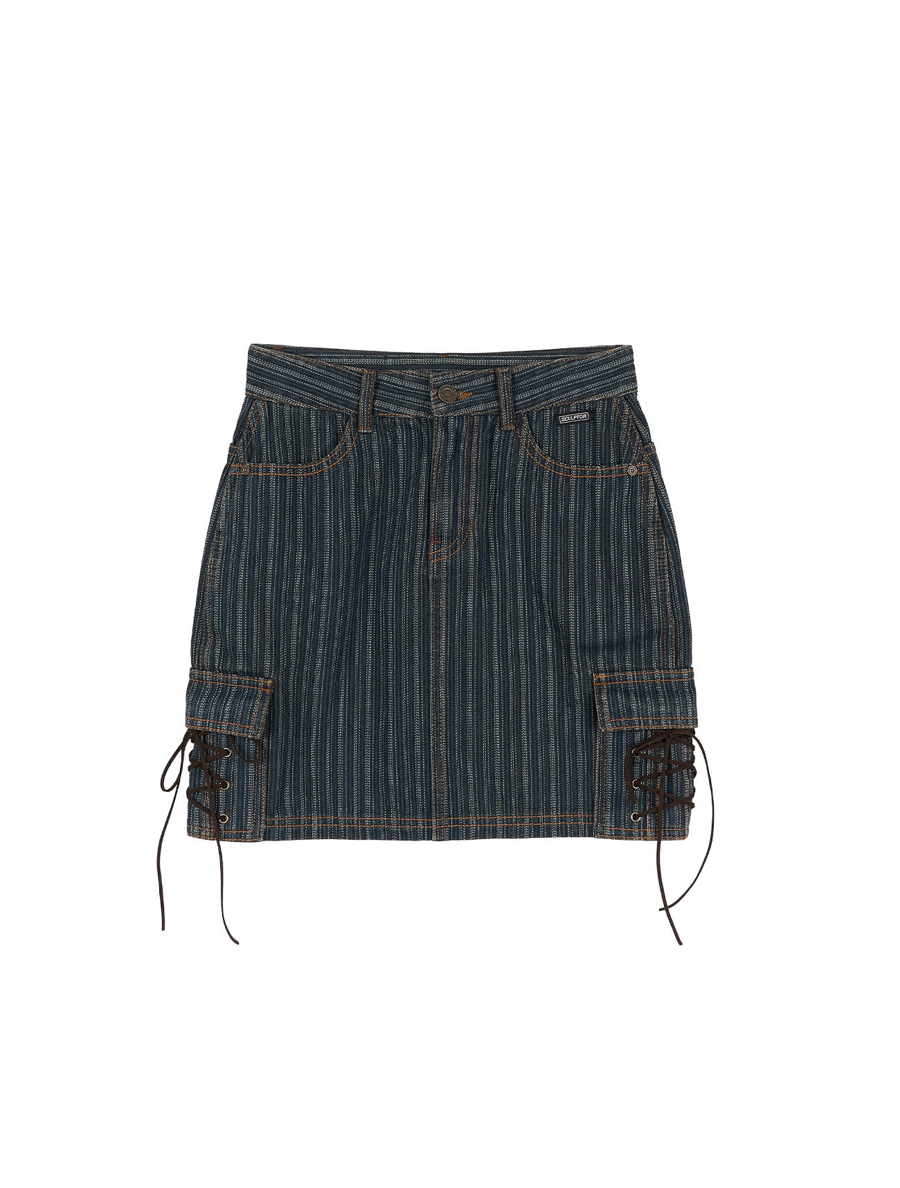 Striped Washing Cargo Skirt Vintage Indigo